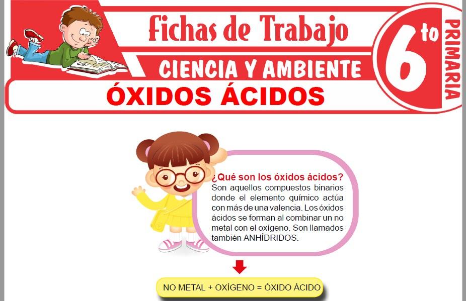 Modelos de la Ficha de Óxidos ácidos para Sexto de Primaria