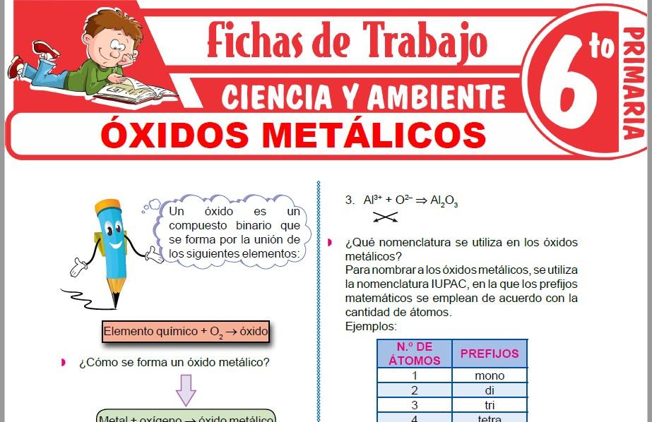 Modelos de la Ficha de Óxidos metálicos para Sexto de Primaria