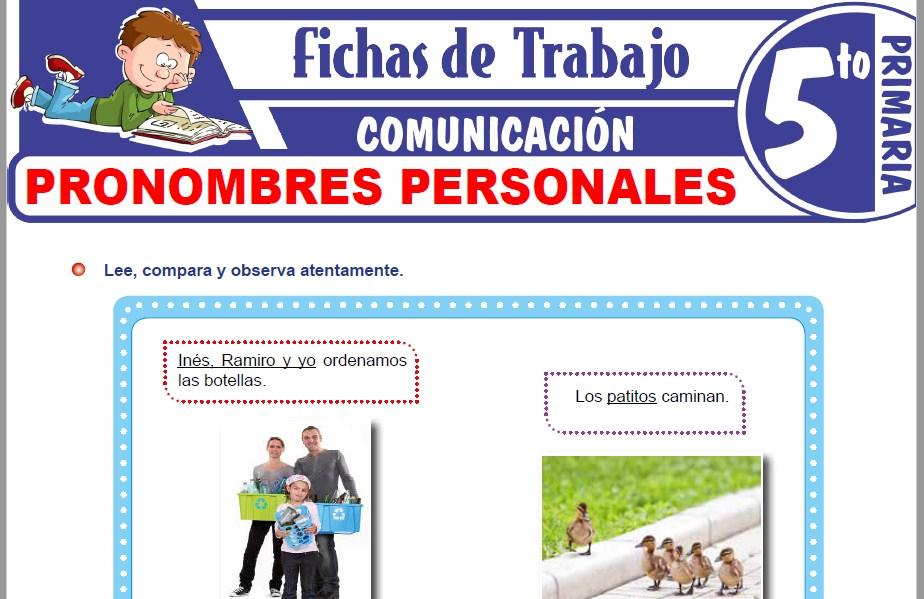 Modelos de la Ficha de Accidentes gramaticales y clases de pronombres personales para Quinto de Primaria