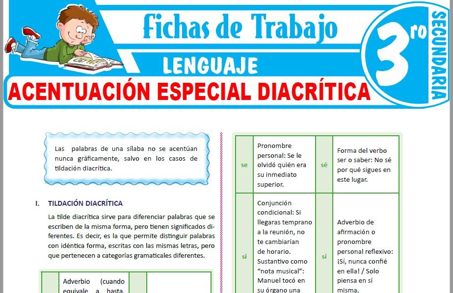 Modelos de la Ficha de Acentuación especial diacrítica para Tercero de Secundaria
