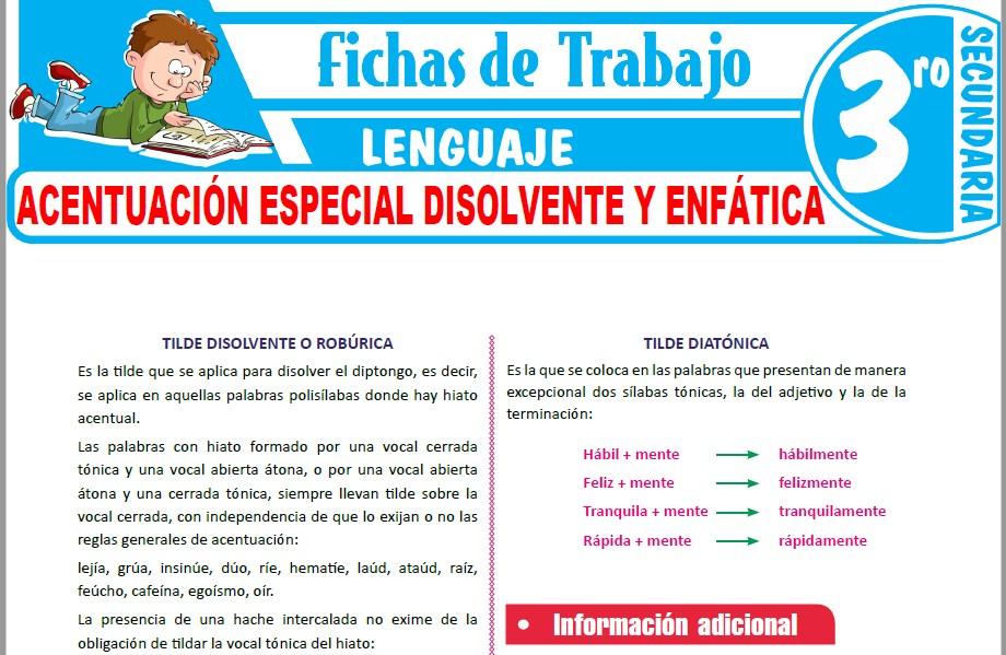 Modelos de la Ficha de Acentuación especial disolvente y enfática para Tercero de Secundaria