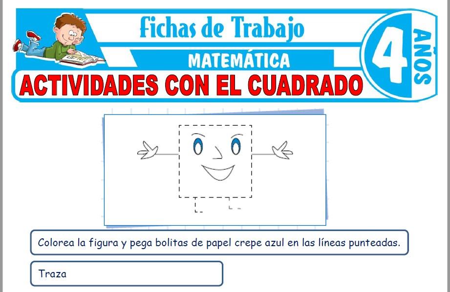 Modelos de la Ficha de Actividades con el cuadrado para Niños de Cuatro Años