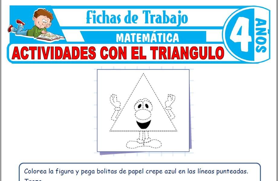 Modelos de la Ficha de Actividades con el triangulo para Niños de Cuatro Años