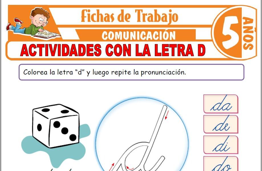 Modelos de la Ficha de Actividades con la letra D para Niños de Cinco Años