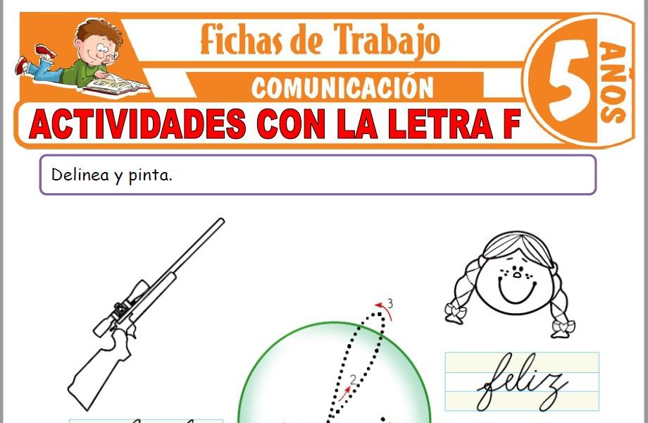 Modelos de la Ficha de Actividades con la letra F para Niños de Cinco Años