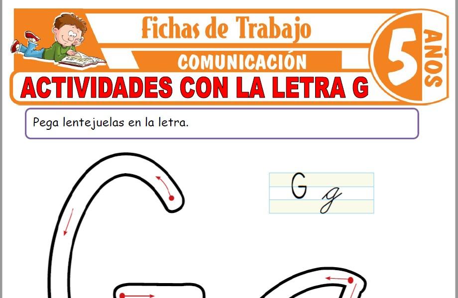 Modelos de la Ficha de Actividades con la letra G para Niños de Cinco Años