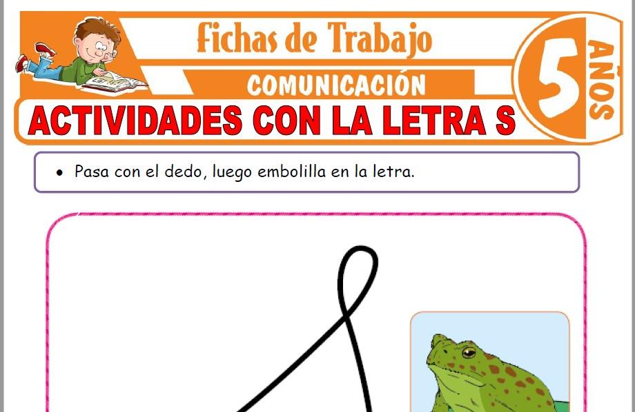 Modelos de la Ficha de Actividades con la letra S para Niños de Cinco Años