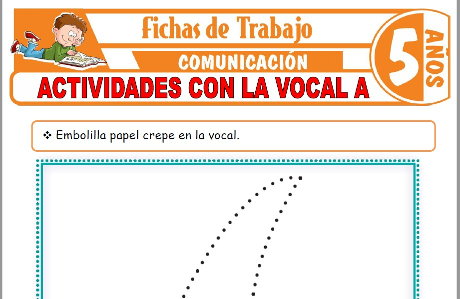 Modelos de la Ficha de Actividades con la vocal A para Niños de Cinco Años