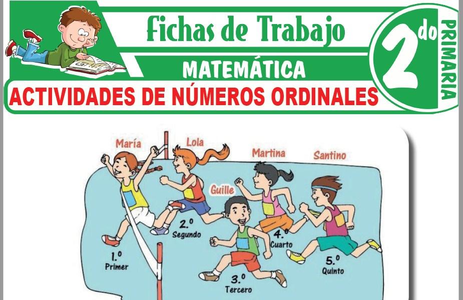 Modelos de la Ficha de Actividades de números ordinales para Segundo de Primaria