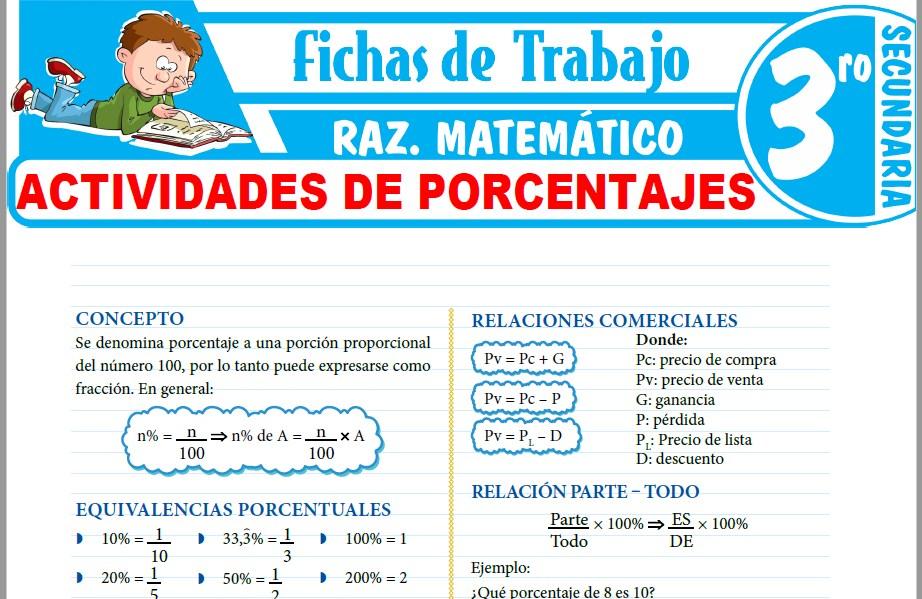 Modelos de la Ficha de Actividades de porcentajes para Tercero de Secundaria