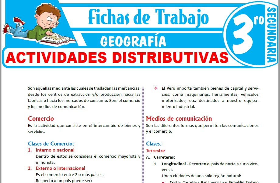 Modelos de la Ficha de Actividades distributivas para Tercero de Secundaria