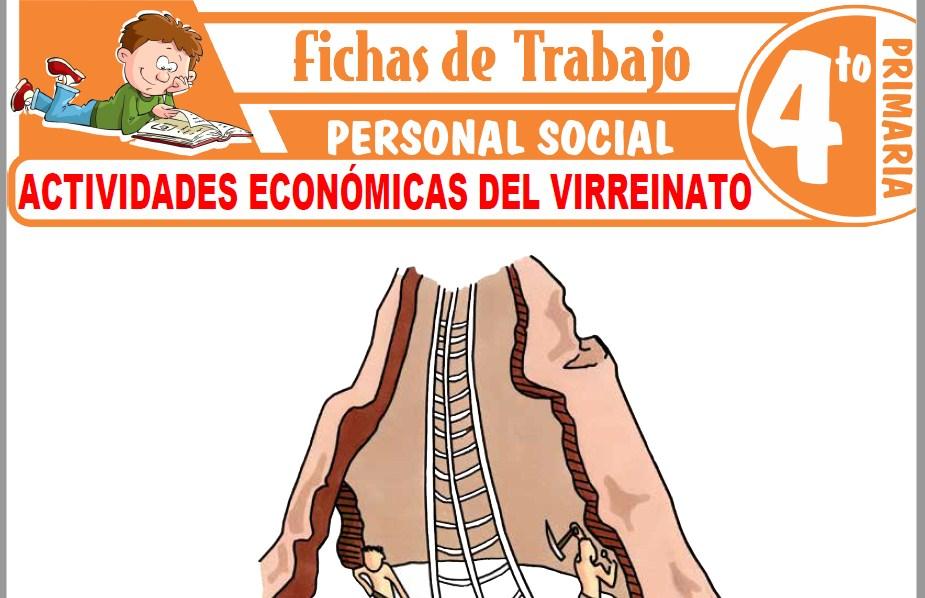 Modelos de la Ficha de Actividades económicas del Virreinato para Cuarto de Primaria