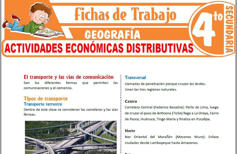 Modelos de la Ficha de Actividades económicas distributivas para Cuarto de Secundaria
