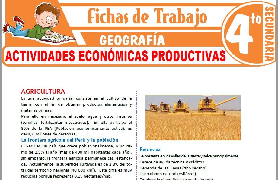 Modelos de la Ficha de Actividades económicas productivas para Cuarto de Secundaria