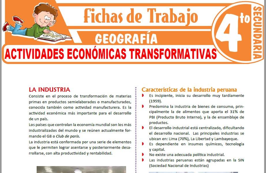 Modelos de la Ficha de Actividades económicas transformativas para Cuarto de Secundaria