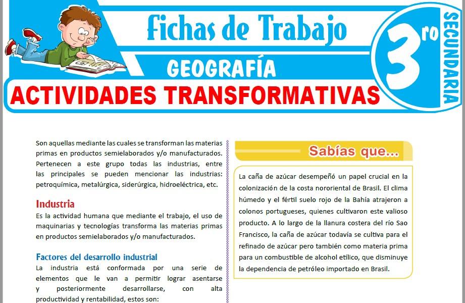 Modelos de la Ficha de Actividades transformativas para Tercero de Secundaria