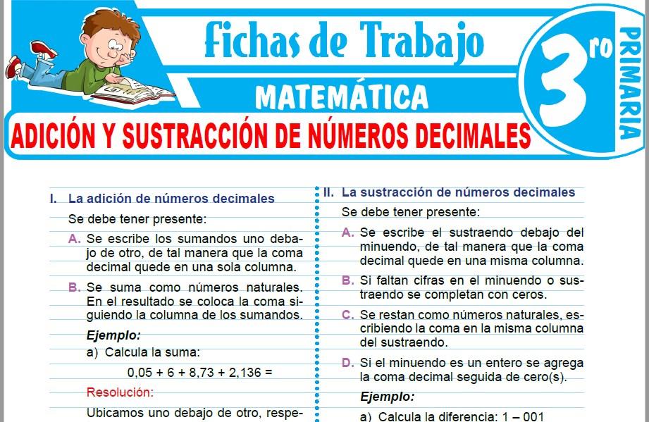 Modelos de la Ficha de Adición y sustracción de números decimales para Tercero de Primaria