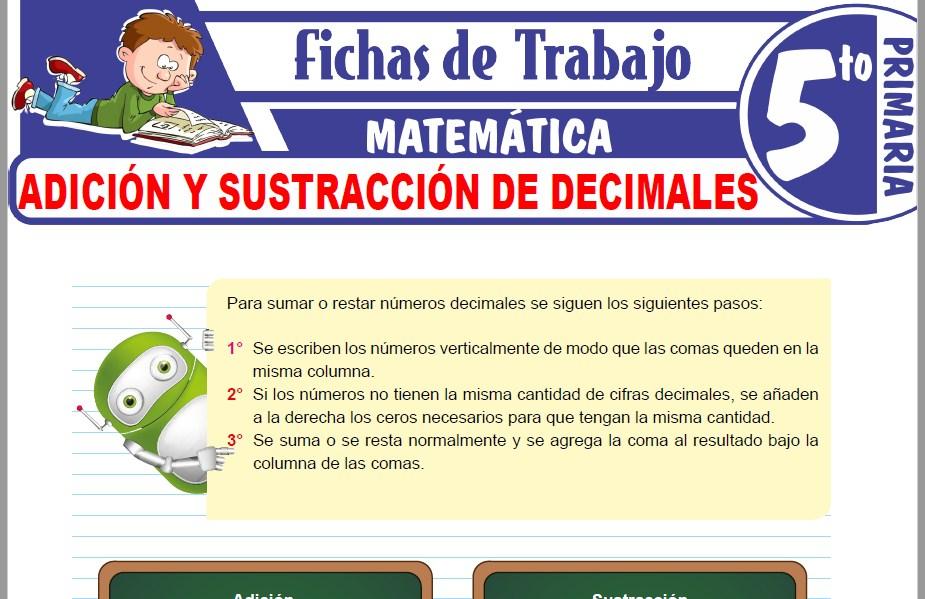 Modelos de la Ficha de Adición y sustracción de decimales para Quinto de Primaria