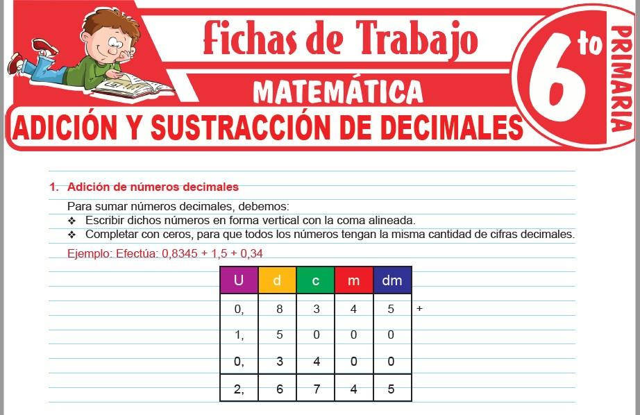 Modelos de la Ficha de Adición y sustracción de decimales para Sexto de Primaria