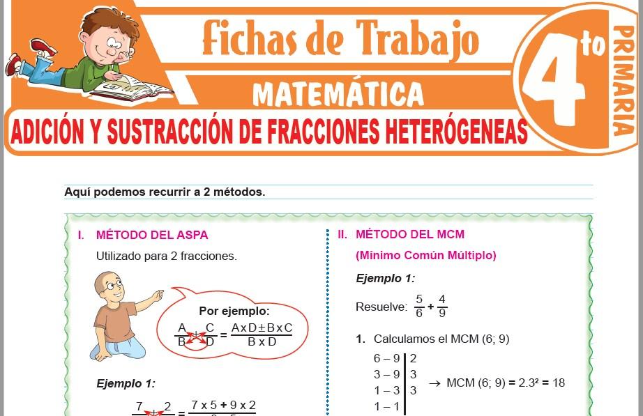 Modelos de la Ficha de Adición y sustracción de fracciones heterógeneas para Cuarto de Primaria
