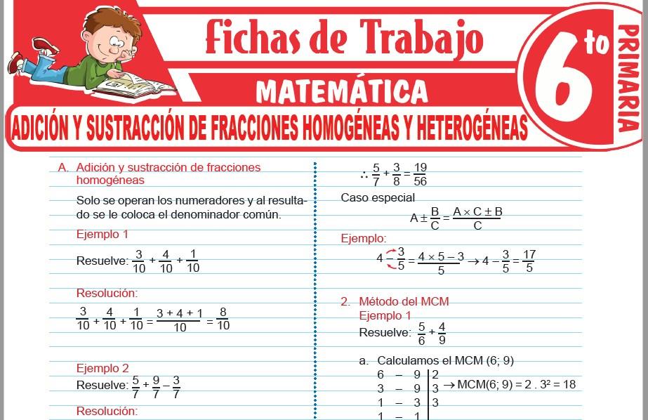 Modelos de la Ficha de Adición y sustracción de fracciones homogéneas y heterogéneas para Sexto de Primaria