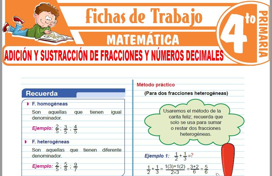 Modelos de la Ficha de Adición y sustracción de fracciones y números decimales para Cuarto de Primaria