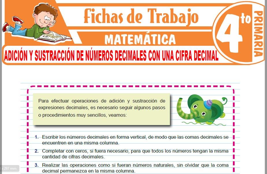 Adición y sustracción de números decimales con una cifra decimal para Cuarto Grado de Primaria
