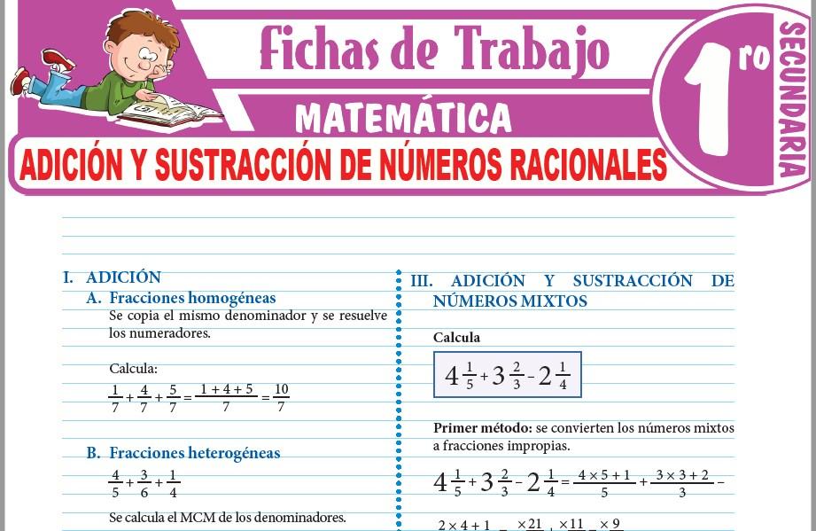 Adición y sustracción de números racionales para Primero de Secundaria
