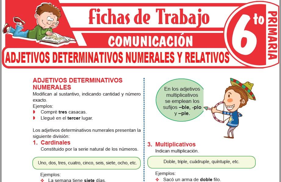 Modelos de la Ficha de Adjetivos determinativos numerales y relativos para Sexto de Primaria