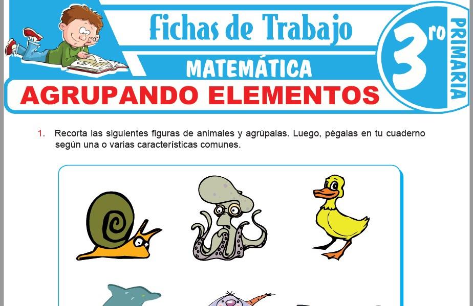 Modelos de la Ficha de Agrupando elementos para Tercero de Primaria