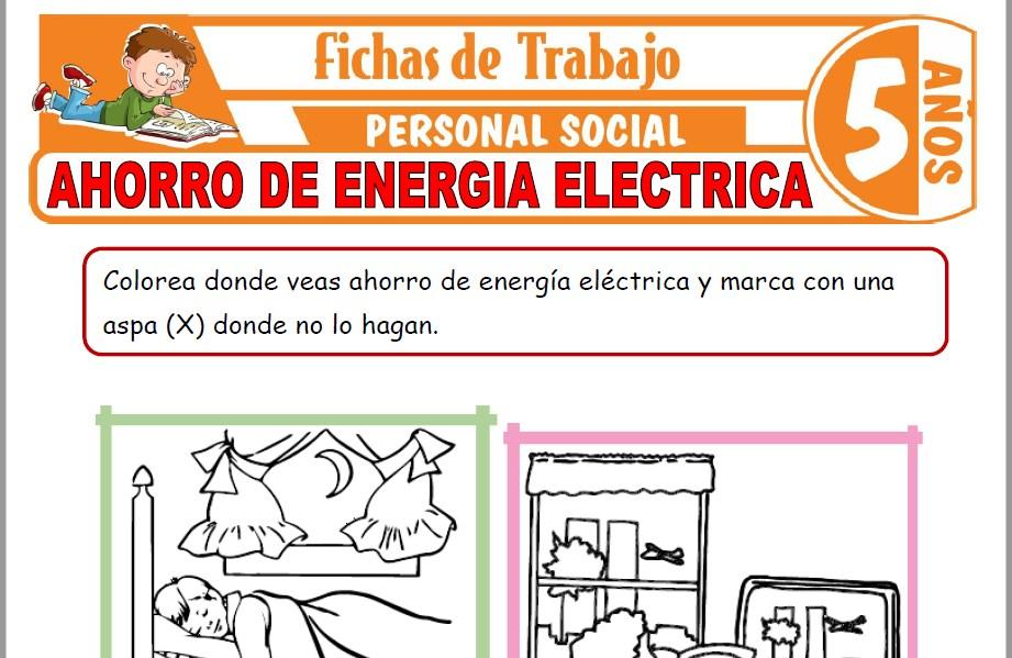 Modelos de la Ficha de Ahorro de energía eléctrica para Niños de Cinco Años