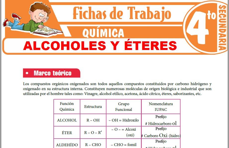 Modelos de la Ficha de Alcoholes y Éteres para Cuarto de Secundaria