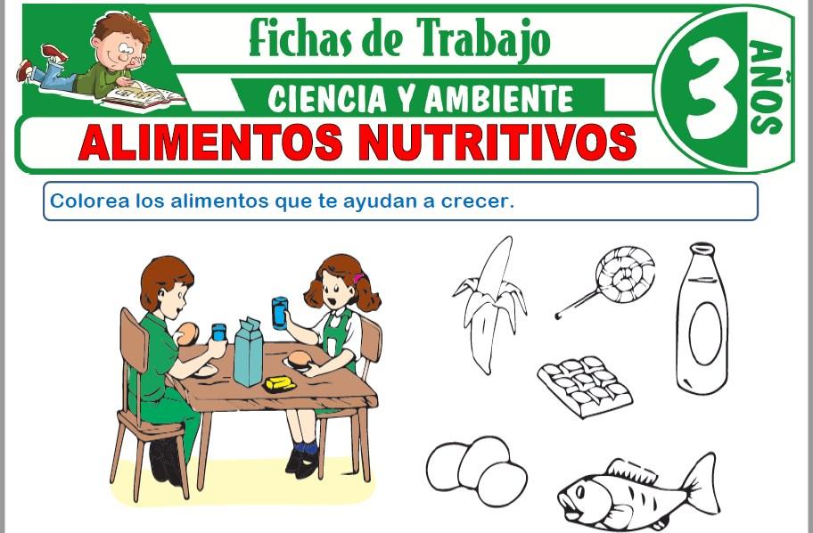Modelos de la Ficha de Alimentos nutritivos para Niños de Tres Años