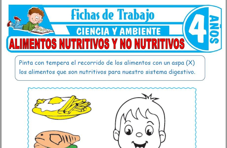 Modelos de la Ficha de Alimentos nutritivos y no nutritivos para Niños de Cuatro Años