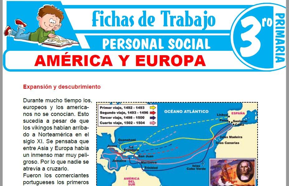 Modelos de la Ficha de América y Europa para Tercero de Primaria
