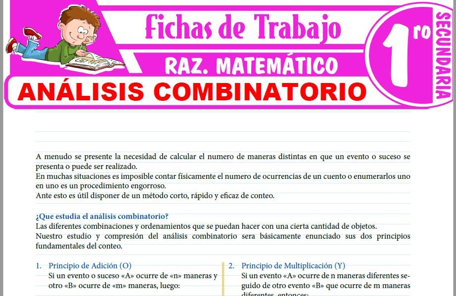 Modelos de la Ficha de Análisis combinatorio para Primero de Secundaria