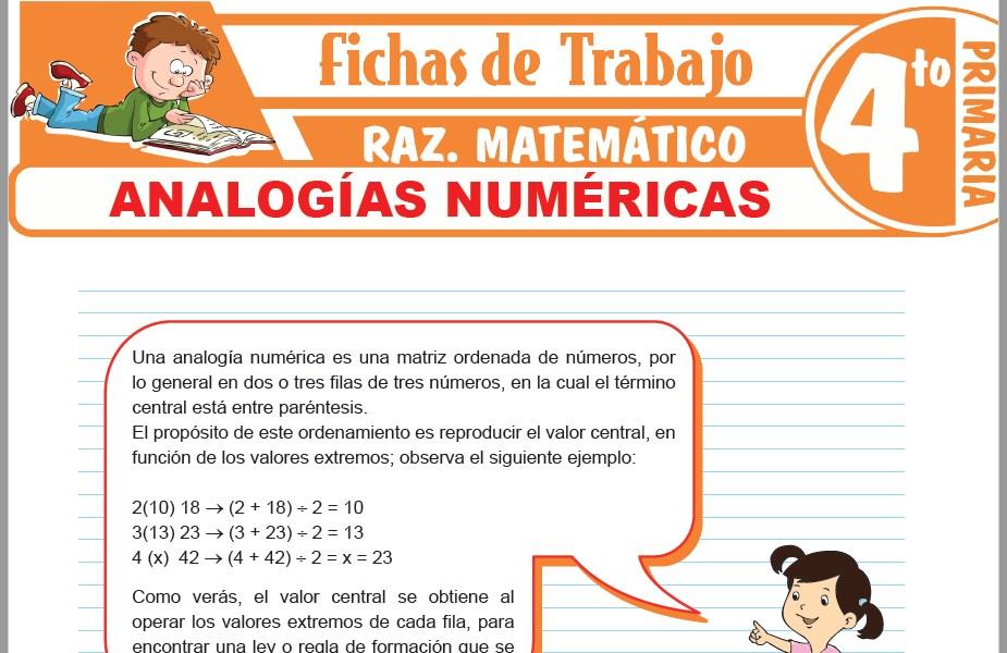Modelos de la Ficha de Analogías numéricas para Cuarto de Primaria