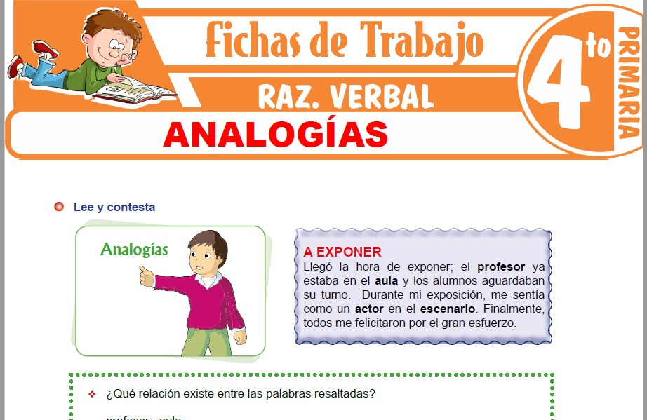 Modelos de la Ficha de Analogías para Cuarto de Primaria