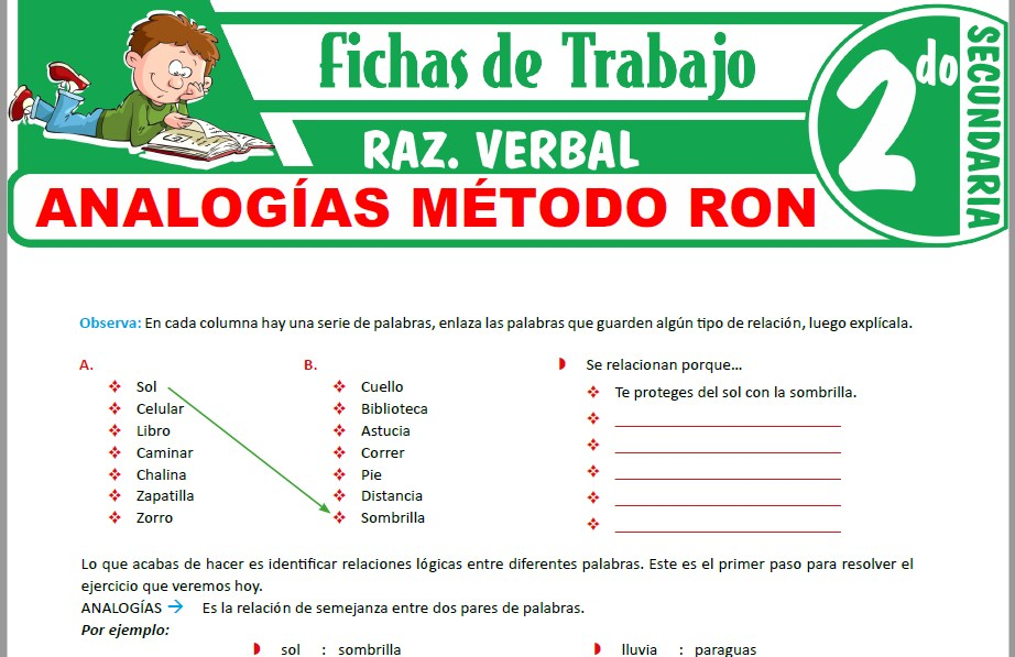 Modelos de la Ficha de Analogías método RON para Segundo de Secundaria