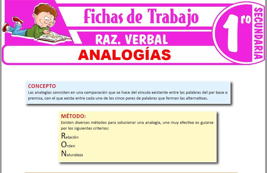 Modelos de la Ficha de Analogías para Primero de Secundaria