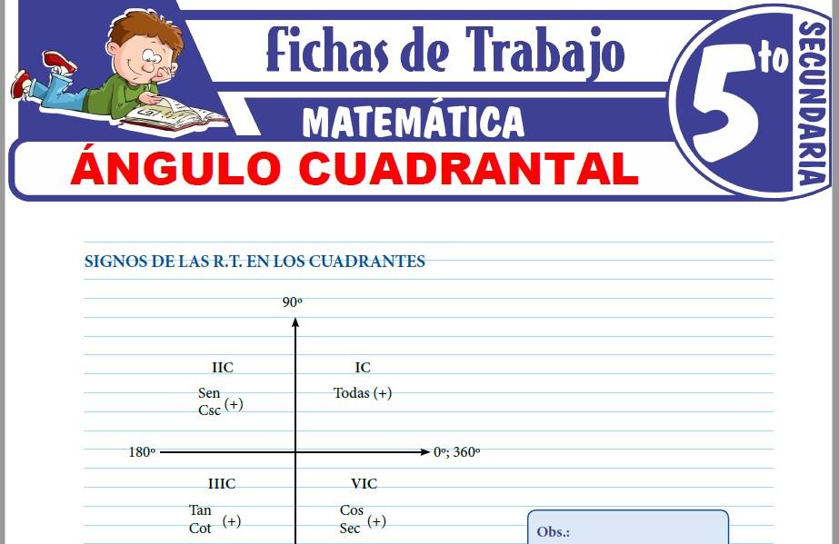 Modelos de la Ficha de Ángulo cuadrantal para Quinto de Secundaria