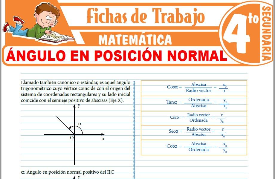 Modelos de la Ficha de Ángulo en posición normal para Cuarto de Secundaria