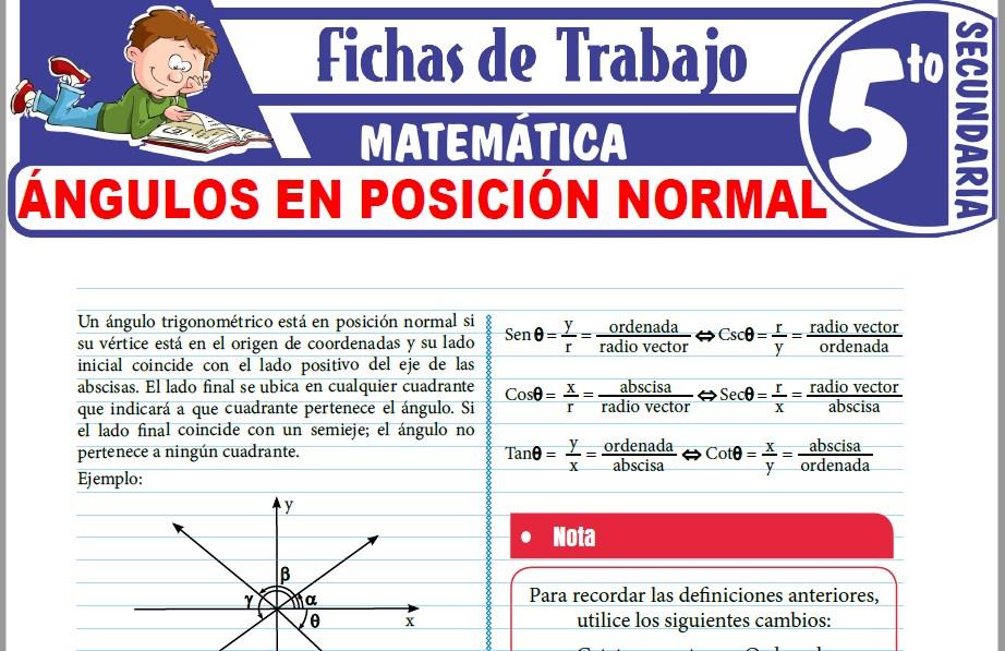 Modelos de la Ficha de Ángulo en posición normal para Quinto de Secundaria