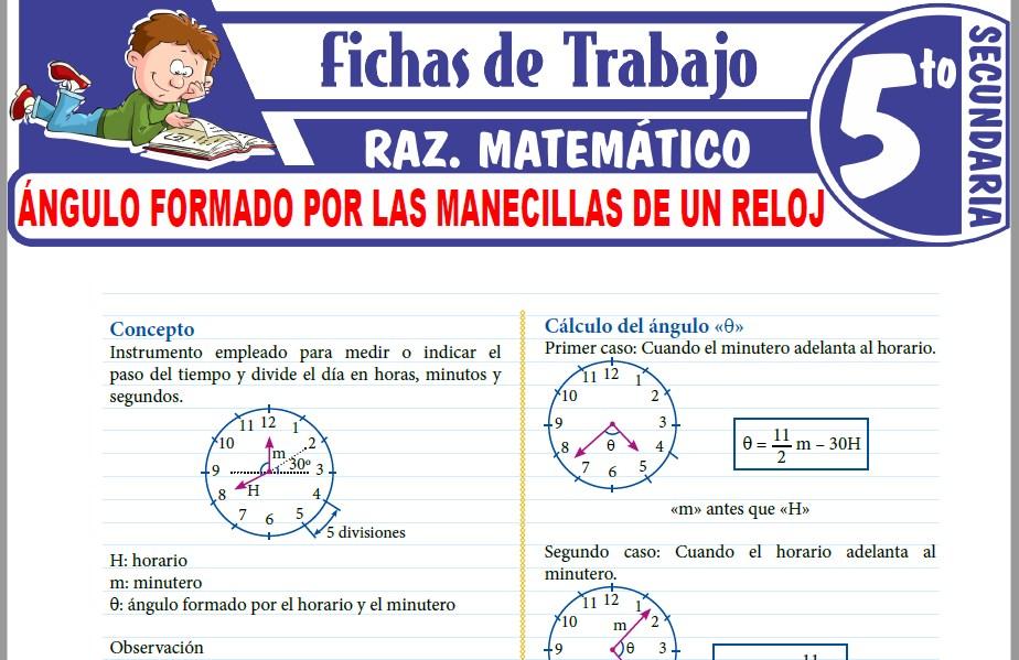 Modelos de la Ficha de Ángulo formado por las manecillas de un reloj para Quinto de Secundaria