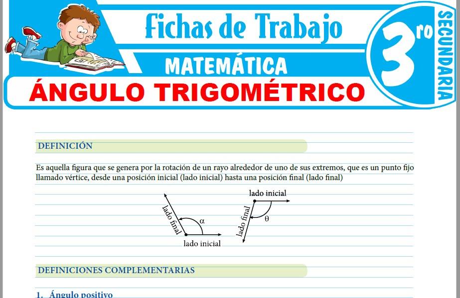 Modelos de la Ficha de Ángulo trigométrico para Tercero de Secundaria