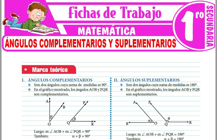 Modelos de la Ficha de Ángulos complementarios y suplementarios para Primero de Secundaria