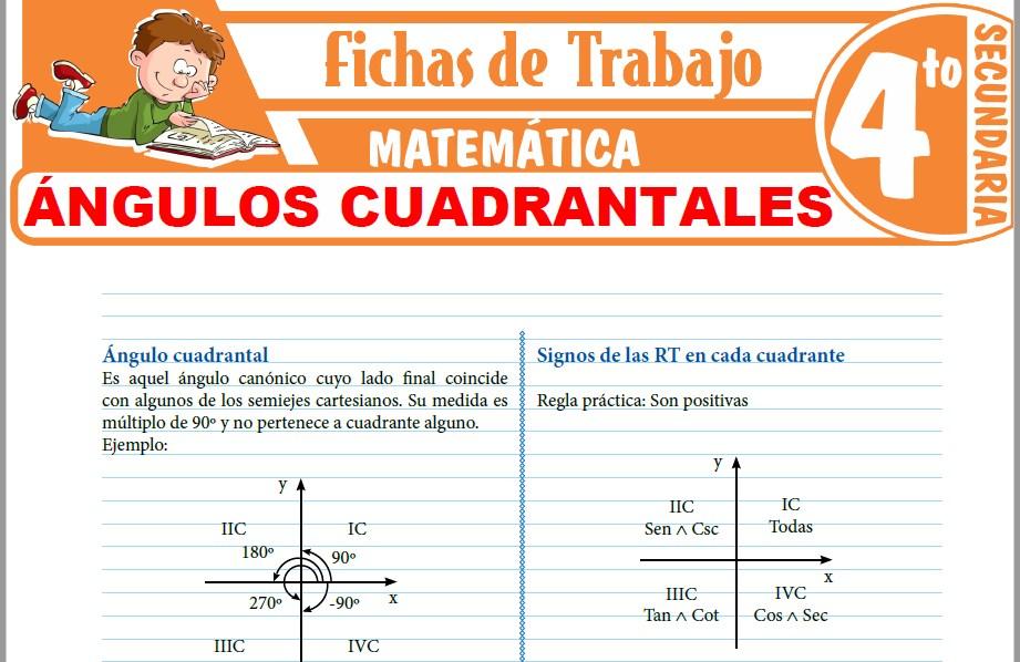 Modelos de la Ficha de Ángulos cuadrantales para Cuarto de Secundaria
