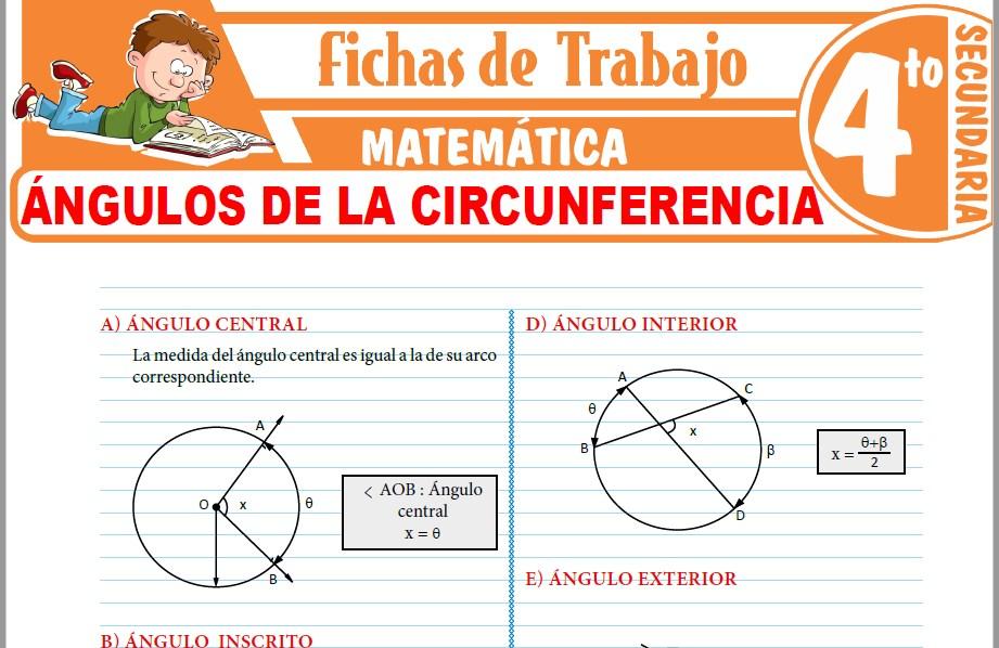 Modelos de la Ficha de Ángulos de la circunferencia para Cuarto de Secundaria