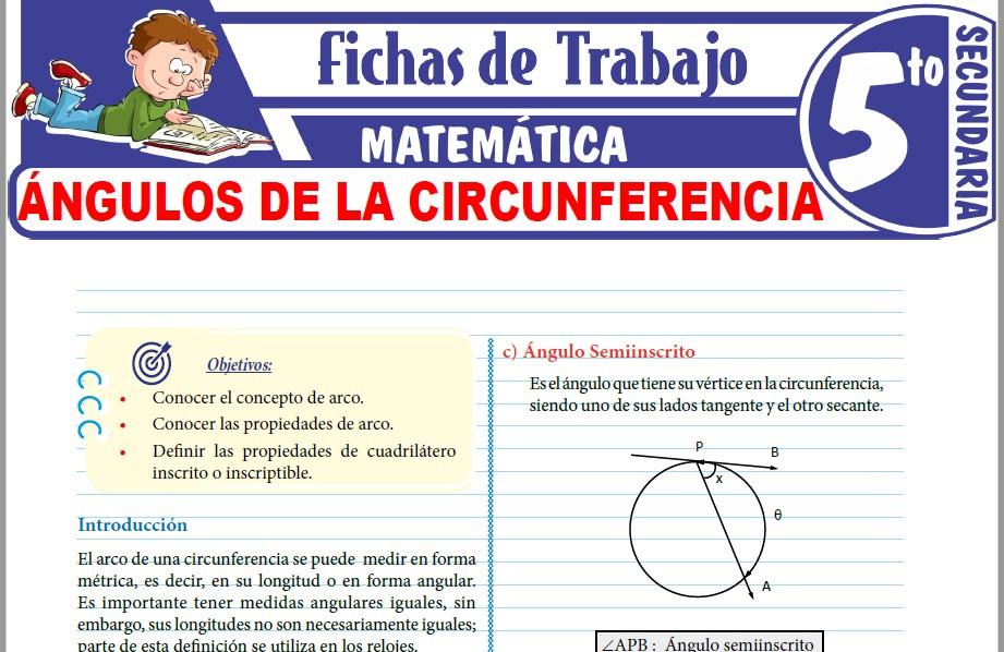 Modelos de la Ficha de Ángulos de la circunferencia para Quinto de Secundaria