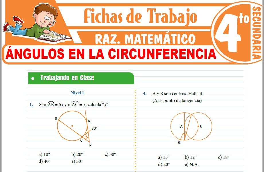 Modelos de la Ficha de Ángulos en la circunferencia para Cuarto de Secundaria